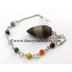 Narmada Stone Smooth Pendulum With Chakra Chain