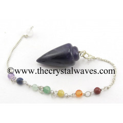 Amethyst Smooth Pendulum With Chakra Chain