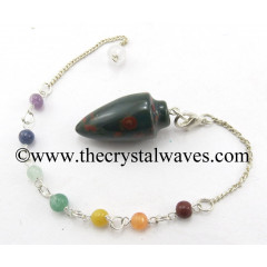 Blood Agate Smooth Pendulum With Chakra Chain
