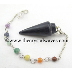 Blue Aventurine Smooth Pendulum With Chakra Chain