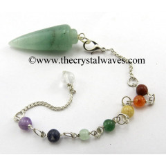 Green Aventurine (Light) Smooth Pendulum With Chakra Chain