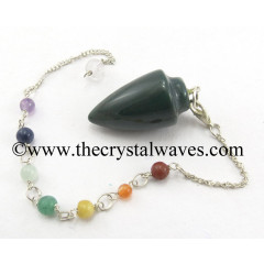 Moss Agate Smooth Pendulum With Chakra Chain