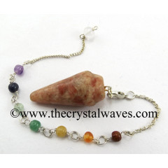 Sunstone Smooth Pendulum With Chakra Chain