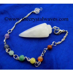 Snow Quartz Smooth Pendulum With Chakra Chain