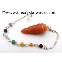 Red Aventurine Spiral Pendulum With Chakra Chain