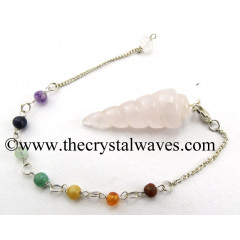 Rose Quartz Spiral Pendulum With Chakra Chain