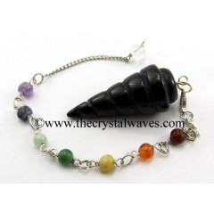 Black Agate Spiral Pendulum With Chakra Chain