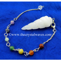Snow Quartz Spiral Pendulum With Chakra Chain
