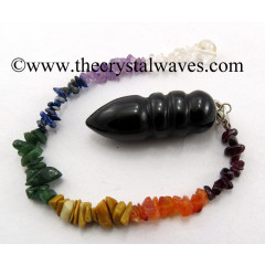 Black Agate Egyptian Style Pendulum With Chakra Chips Chain