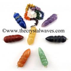 Egyptian Style Pendulum With Chakra Chips Chain Chakra Set