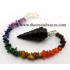 Black Agate Spiral Pendulum With Chakra Chips Chain