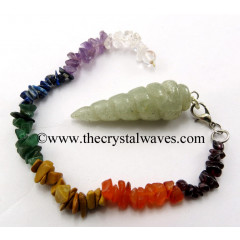 Prasiolite Spiral Pendulum With Chakra Chips Chain
