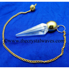 Crystal Quartz AA Grade Faceted Gold Modular Pendulum