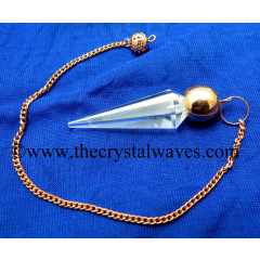 Crystal Quartz AA Grade Faceted Copper Modular Pendulum