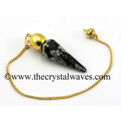 Black & White Tourmaline Faceted Gold Modular Pendulum