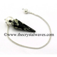 Black & White Tourmaline Faceted Silver Modular Pendulum