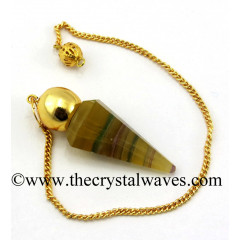 Fluorite Faceted Gold Modular Pendulum