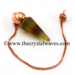 Fluorite Faceted Copper Modular Pendulum