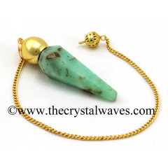 Chrysoprase Faceted Gold Modular Pendulum