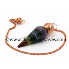 7 Chakra Bonded Faceted Copper Modular Pendulum