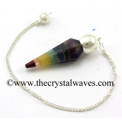 7 Chakra Bonded Faceted Silver Modular Pendulum