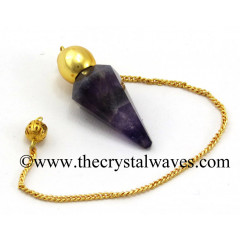 Chevron Amethyst Faceted Gold Modular Pendulum