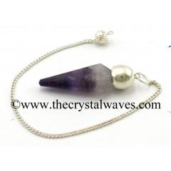 Chevron Amethyst Faceted Silver Modular Pendulum