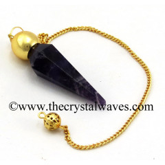 Amethyst Faceted Gold Modular Pendulum
