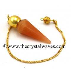 Red Aventurine Faceted Gold Modular Pendulum