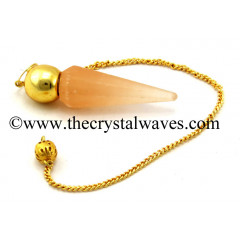 Orange Selenite Faceted Gold Modular Pendulum