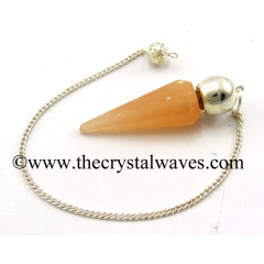 Orange Selenite Faceted Silver Modular Pendulum