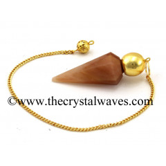 Peach Moonstone Faceted Gold Modular Pendulum
