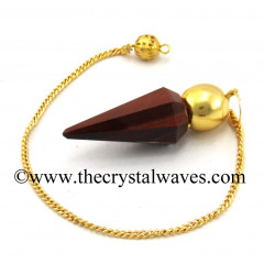 Red Tiger Eye Agate Faceted Gold Modular Pendulum