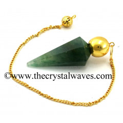 Green Aventurine (Dark) Faceted Gold Modular Pendulum