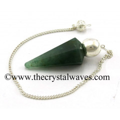 Green Aventurine (Dark) Faceted Silver Modular Pendulum
