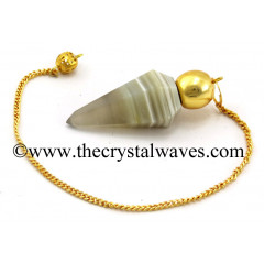 Lace Agate Faceted Gold Modular Pendulum
