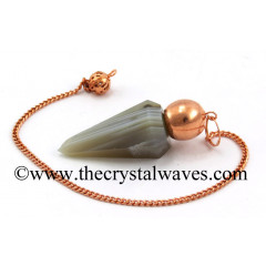 Lace Agate Faceted Copper Modular Pendulum