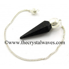 Nuummite / Coppernite Faceted Silver Modular Pendulum