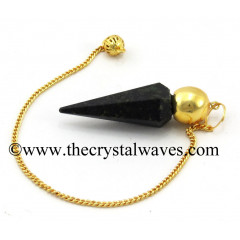 Nuummite / Coppernite Faceted Gold Modular Pendulum