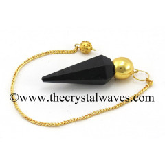 Black Tourmaline Faceted Gold Modular Pendulum
