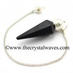 Black Agate Faceted Silver Modular Pendulum