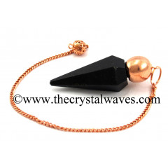 Black Obsidian Faceted Copper Modular Pendulum