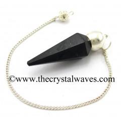 Black Obsidian Faceted Silver Modular Pendulum