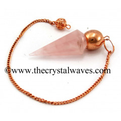 Rose Quartz Good Color Faceted Copper Modular Pendulum