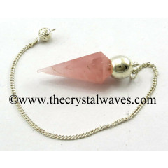 Rose Quartz Good Color Faceted Silver Modular Pendulum