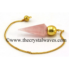 Rose Quartz Good Color Faceted Gold Modular Pendulum