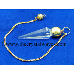 Crystal Quartz A Grade Faceted Gold Modular Pendulum