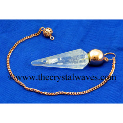 Crystal Quartz B Grade Faceted Copper Modular Pendulum