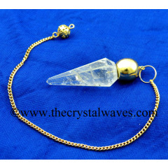 Crystal Quartz B Grade Faceted Gold Modular Pendulum