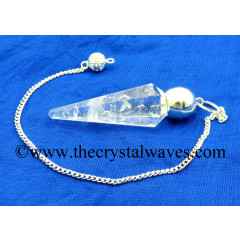 Crystal Quartz B Grade Faceted Silver Modular Pendulum